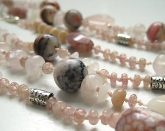Pink Gemstone Necklace / Hand Knotted Bohemian Necklace / Mixed Stone Beaded Necklace / Quartz Agate Sunstone / Blush Pink