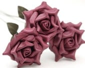 SALE 3 berry leather rose bouquet  Wedding/3rd Anniversary Gift Long Stem Flower Valentine's Day 3rd Leather Anniversary Mother's Day Prom