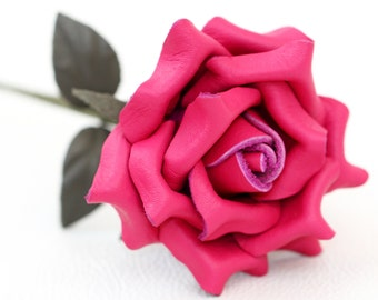 Hot pink leather rose third Anniversary wedding gift Long Stem leather flower Valentine's Day 3rd Leather Anniversary Mother's Day Prom