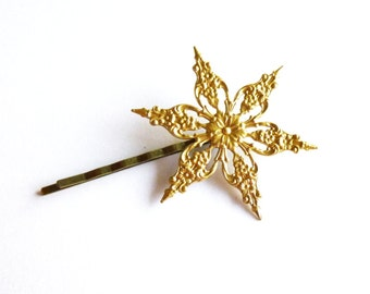 Gold Snowflake Hair Clip Snow Flake Bobby Pin Bride Bridal Bridesmaid Winter Wedding Accessories Holiday Christmas Girls Womens Gift For Her