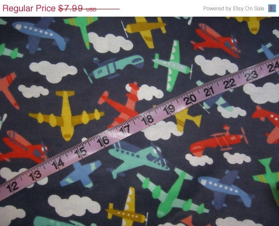 Flannel fabric with airplane plane cotton by for Airplane fabric by the yard