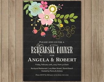 Floral Rehearsal Dinner | Pretty Flower Invitation | Bridal Invitation | Rehearsal Dinner Invitation 4500