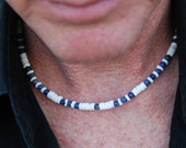 Boca Chica - 18 Inch Handcrafted Gemstone Necklace - Sodalite & Sea Shell - SGArtCA - Tribal Chic Jewelry