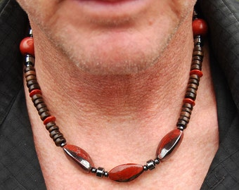 CLEARANCE - Red Dragon - 19 Inch Handcrafted Gemstone Necklace - Wood and Hematite - SGArtCA - Tribal Chic Jewelry