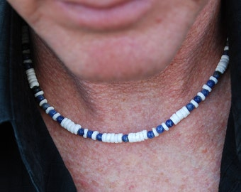 Boca Chica - 18 Inch Handcrafted Gemstone Necklace - Sodalite & Sea Shell - SGArtCA - Tribal Chic Jewelry