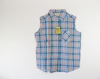 Vintage 1940s Blouse / 1950s Blouse / 1950s Plaid Shirt / Cotton Shirt / Blue & Pink Shirt / Rockabilly Top Girls Size 8
