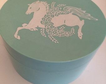 Dusting Powder Blue Grass Vintage Elizabeth Arden -  Horse Container