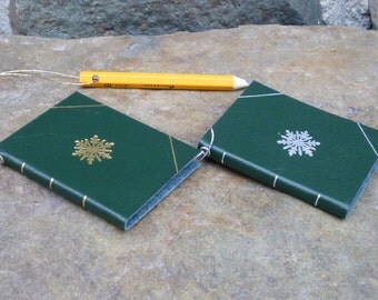 Personalized Leather Book Ornament, Green Leather Book Ornament with mini pencil