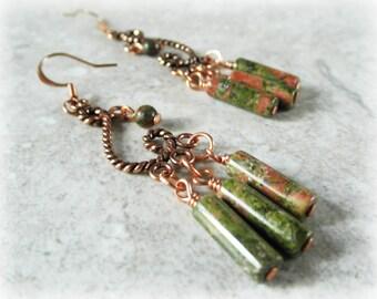 Chandelier Earrings. Gemstone Earrings. Unakite Earrings. Solid Copper Earrings. OOAK
