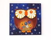 Acrylic Painting, Owl with Daisy Eyes, Whimsical Wall Art, Nursery Art, Office Art, Owl Art