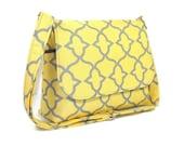Yellow Gray Messenger Purse, Handmade Handbag, Quatrefoil Print Pocketbook, Cross Body Bag for Women, Crossbody Purse, Cotton Messenger Bag