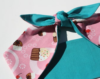 Vintage Inspired Head Scarf, Bow or Bandanna Style, Retro Cupcakes, Reversible
