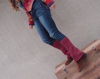Upcycled Recycled Repurposed Sweater Leg Warmers Plum Boho Hippie Fall Winter Fashion