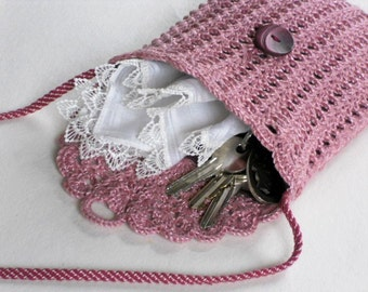 Crochet wallet purse small mauve shoulder bag with long strap dusty pink purse gift for grandmother
