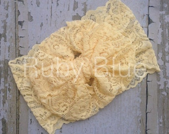 Pale Yellow 12 months to 12 years Lace Messy Bow Head Wrap