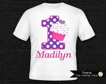 Cupcake Birthday Shirt or Bodysuit Personalized