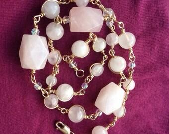Sarah Necklace - Rose Quartz and 12k Gold Fill.