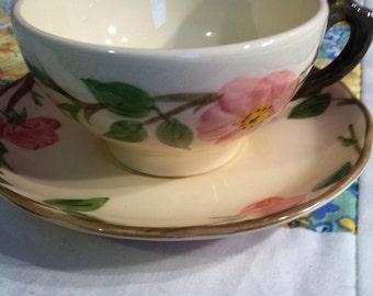 Vintage Desert Rose Tea Cup Set Made by Fransican Pink Roses #2034