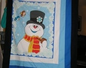 Frosty the Snowman Fabric Blanket, Pillowcase, and Pillow Set - Cotton, Flannel, Fleece