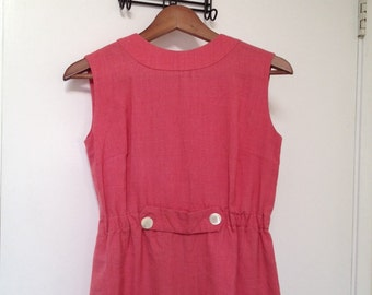 Vintage Pink Boating Day Dress sz XS or S