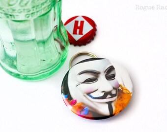 Guy Fawkes Bottle Opener Keychain Combo - Occupy Protestor Mask Bottle Opener - V for Vandetta Keychain