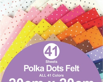 ALL 41 Printed Polka Dots Felt Sheets - 20cm x 20cm per sheet - Pick your own colors (P20x20)