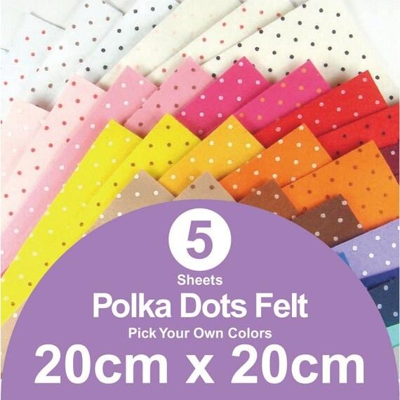 5 printed polka dots felt sheets 20cm x 20cm per sheet for Polka dot felt fabric