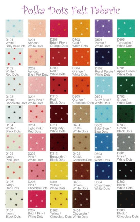 1 yard printed felt fabric pick your own color pr1y for Polka dot felt fabric