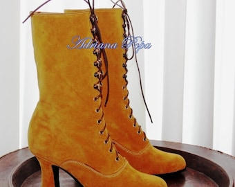 Crazy SALE Victorian Boots Lace up High Heels Ankle boots in Ocker / Mustard Leather Order your customized boots