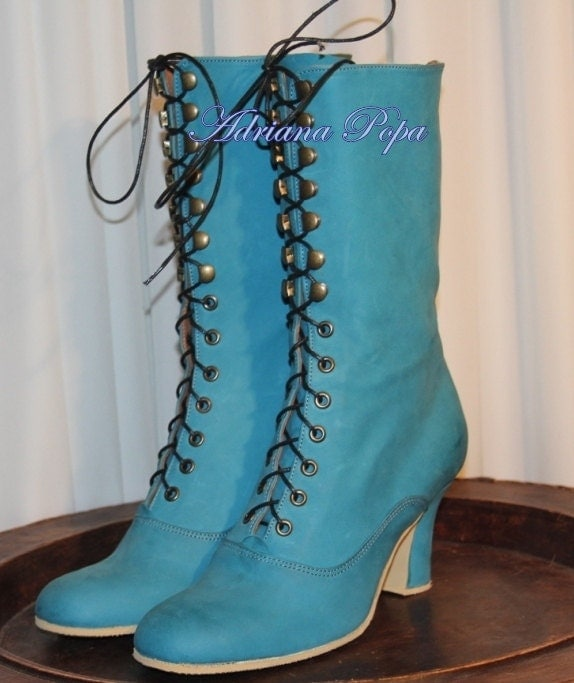 New Cyan Teal Victorian Boots