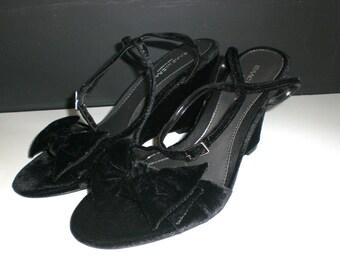 Vintage wedge, Black, Velvet ,ankle strap ,womens shoes, size 7, Dress shoes,90's, Dance shoes