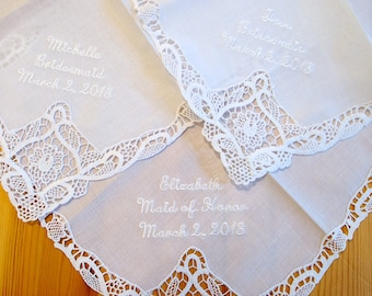 Bridesmaid Handkerchief with names and date