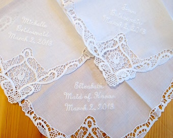Bridesmaid Wedding Handkerchief with names and date