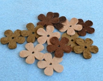 12 Suede Leather Flowers 25x25mm Earthy Tones Mixed Colors Die Cuts Jewelry Supplies