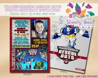 Printable Transformers Rescue Bots Birthday Invitation Jpg 340x270 Invitations