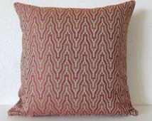 Ethan Allen Kasuri Russet rustic red terra cotta zig zag decorative throw pillow cover