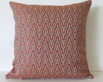 Ethan Allen Kasuri Russet - Rustic red - Terra cotta - Zig zag - Decorative throw pillow cover
