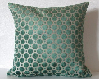 Robert Allen Velvet Geo Emerald decorative pillow cover