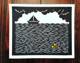 Paperboat Upon the Sea paper cut illustration