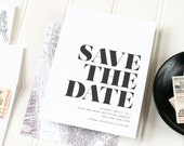 Black and White Wedding Save the Date - Modern Letterpress Save the Date - Simple Letterpress, Foil Stamp or Flat Printing - Soho - DEPOSIT