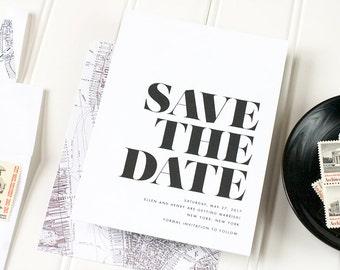 Black and White Wedding Save the Date - Modern Letterpress Save the Date - Simple Letterpress, Foil Stamp or Flat Printing - Soho - DEPOSIT