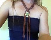 Leather Fringe Turquoise Cross Necklace