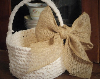 Crochet Basket with Handle and Burlap Bow, Flower Girl Basket, Easter Basket, Wedding, Gift Basket, Rustic Wedding, Cottage Chic