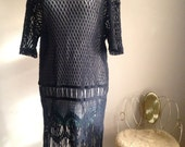Vintage 1990's Black Knit Mesh Dress with Fringe - 100% Cotton Made in the USA Size 14