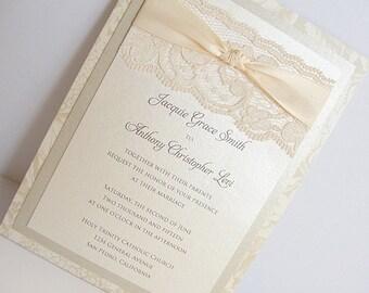Lace Wedding Invitations, Lace Wedding Invite, Wedding Invitations, Wedding Invite, Floral Invite, Vintage Invitation BONNIE - VERTICAL