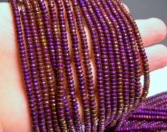Hematite mystic purple  - 2x4mm faceted rondelle beads - full strand 184 beads - A quality - PHG134