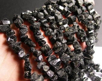 Black Tourmaline - raw natural chunk  -1 full strand - 50 pcs - PSC113