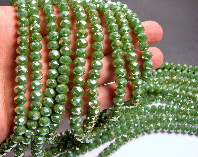 Crystal faceted rondelle - 72 pcs - 8 mm - A quality - full strand -  green ab - GSH45