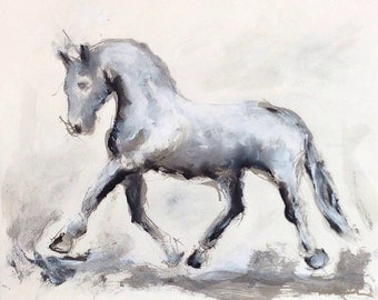 Original Mixed Media Dressage Horse Paintingr - Extended Trot Ink 24 x 20