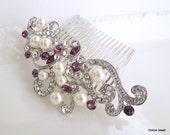 Purple Wedding Hair Clip,Crystal Pearl Wedding Comb,Wedding Hair Accessories,Vintage Style Amethyst Leaf Rhinestone Bridal Hair Comb,KENDRA